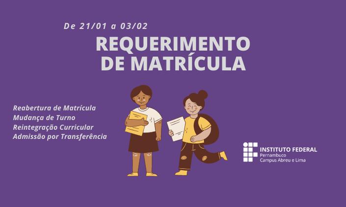 IFPE Abreu e Lima divulga período de reabertura de matrícula