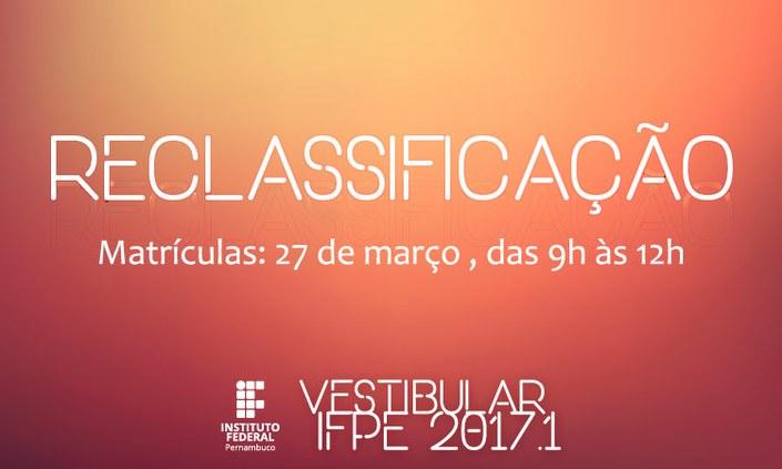 Nova reclassificação do Vestibular 2017.1: vagas do Campus Ipojuca
