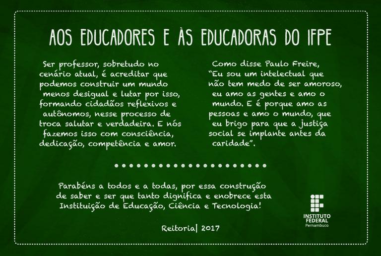 Mensagem Dia Dos Professores Ifpe Instituto Federal De Pernambuco